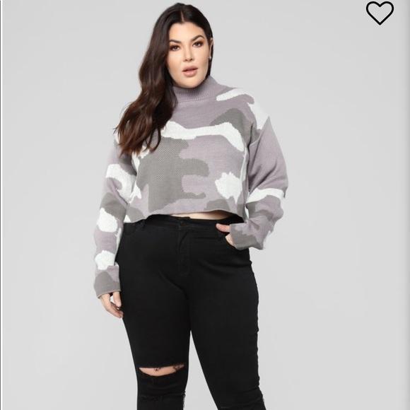 e413d4d3703 NEW Fashion Nova Plus Size Cropped Camo Sweater